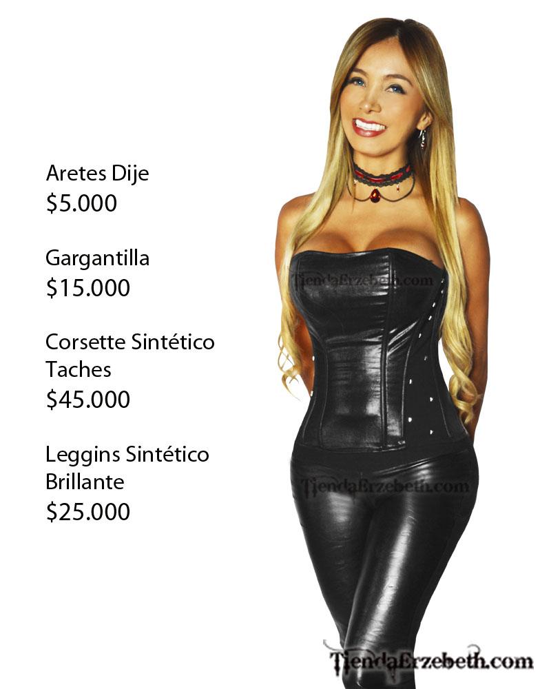 corsette corse corset taches cuerina brillante sintetico negro rock metal leggins brillante cuerina sintetico gargantillas goticas
