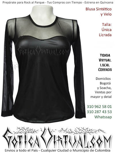 blusa velo sintetico pvc comercio prendas ropa boutique rockera gotica comercio cali popayan neiva cauca zipaquira villavicencio