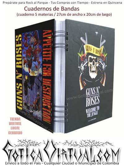 cuaderno cinco materias bandas rock guns envios medellin cali manizales pereira armenia colombia