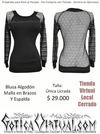 algodon malla blusa negro licrado unica envios medellin colombia cucuta pasto santander bogota cali manizales