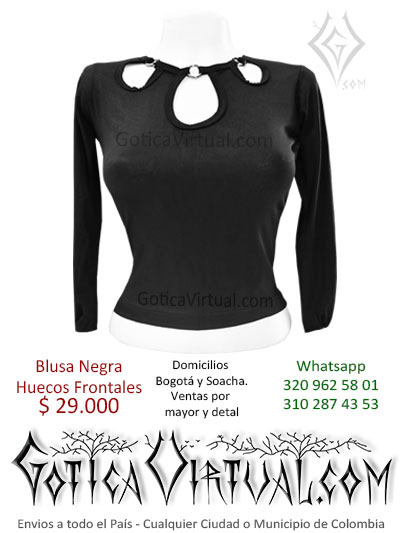 blusa algodon huecos frontales pecho negra venta online rock metal boutique bogota cali cesar villlavicencio bucaramanga cucuta colombia