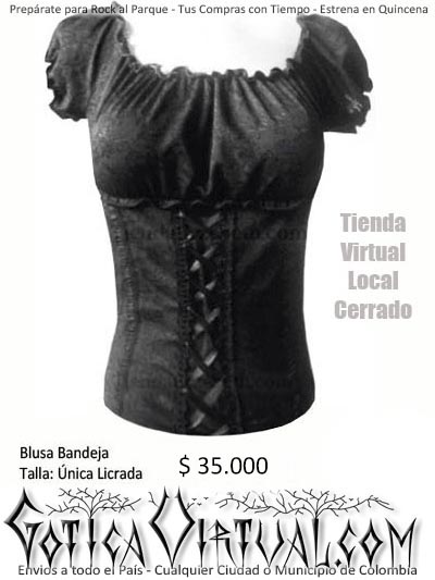 blusa bandeja bogota gotica licrada sport ropa dama envios medellin cali barranquilla cartagena neiva ibague yopal tunja