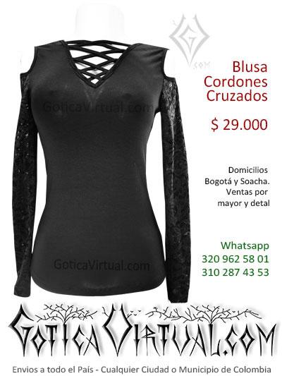 blusa cordones cruzados tienda online rock metal bogota manizales cesar tunja quindio pasto bolivar colombia