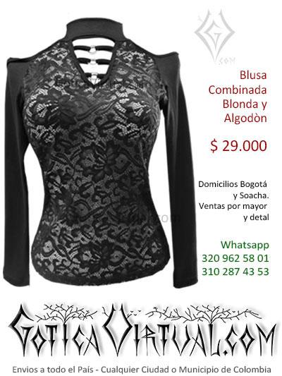 blusa algodon blonda economica negra bonita sexy venta online rock metal bogota santander mosquera colombia