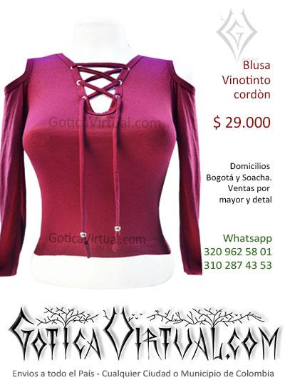 blusa algodon vinotinto cordon frontal apertura escote bonita economica tienda online rock metal bogota colombia