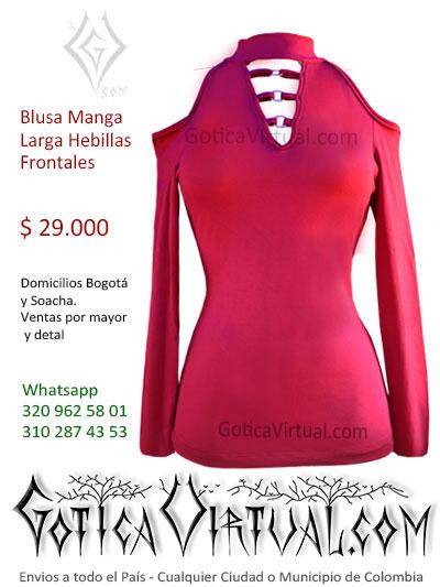 blusa algodon manga larga vinotinto bonita sexy economica venta online rock metal boutique bogota antioquia manizales cesar valle colombia