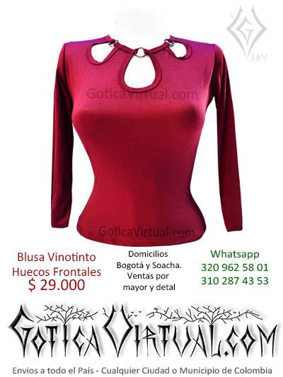 blusa algodon vinotinto huecos apertura escote pecho tienda online bonita economica venta domicilios bogota envios toda colombia