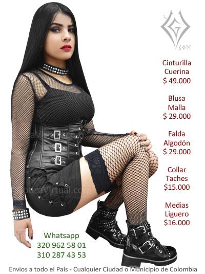 falda algodon cordones a los lados fabrica distribuidor colombia cucuta barranquilla santa marta envigado tolima bucaramanga rock metal dark girls heavy al por mayor