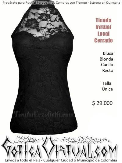 blusa negra oscuro blonda encaje cuello recto transparencia escote rockera rockera bogota envios colombia ventas por mayor fabrica bodega