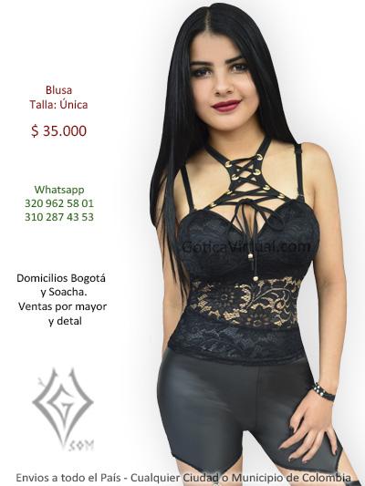 blusa negra tienda online blonda ojales cordones sexy economica domicilios bogota suba fontibon kennedy chapinero moda usme bosa colombia