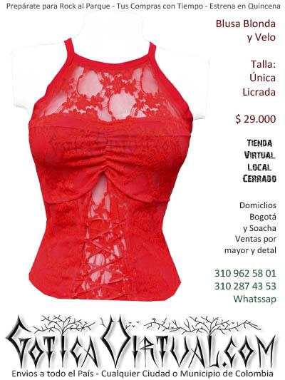 blusa roja corset rockera metalera ventas envios bogota prendas ropa boutique envios comercio cali medellin manizales santander rioacha cartagena colombia