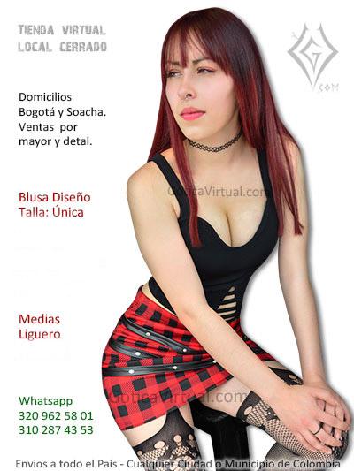 blusa sexy negra bralette falda roja escocesa sexy chica rock metal bogota manizales quindio armenia yopal venta colombia