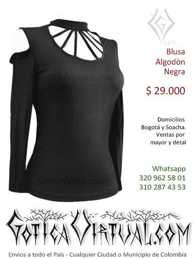 blusa algodon negra tiras gargantilla cuello escote licrada sexy bonita economica tienda online rock metal bogota cali cesar tunja colombia