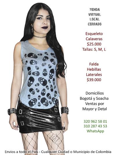 blusa calaveras gris rock metal boutique domicilios bogota soacha envios colombia