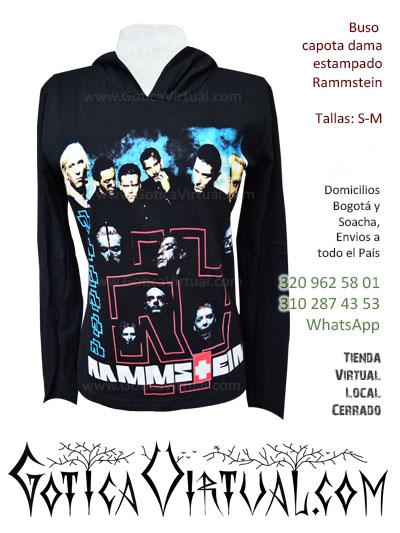 buso capota dama estampado rammstein gotica virtual envios toda colombia soacha chia zipaquira ventas por mayor ropa negra metalera rock