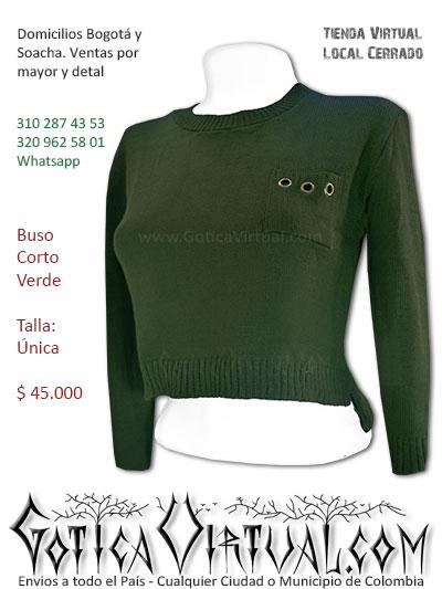buso femenino lana algodon verde diseno corto licrado venta online domicilios bogota soacha fontibon tintal americas usme bosa suba colombia