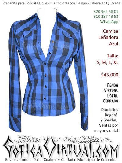 camisea lenadora cuadros azul mujer bogota cali medellin pereira antioquia cucuta meta valle colombia