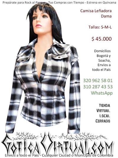 camisa dama tallas s m l tienda online cuadros lenadora urbana punk dark skin rock estilo envios medellin cali manizales