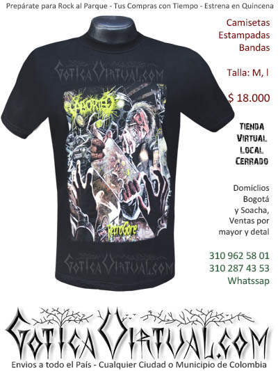 camiseta hombre negra aborted venta online domicilios bogota y soacha envios colombia