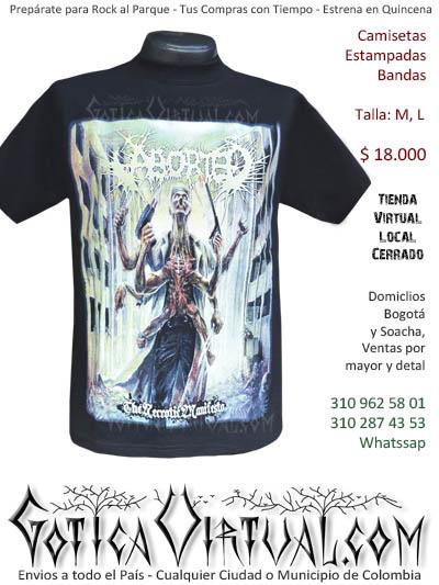 camiseta aborted hombre  venta online domicilios bogota y soacha envios colombia