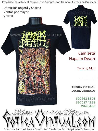 camiseta napalm death hombre negra bordada venta online domicilios bogota y soacha envios colombia