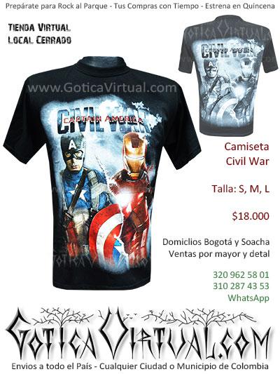 camiseta capitan america hombre civil war venta online domicilios bogota soacha envios colombia