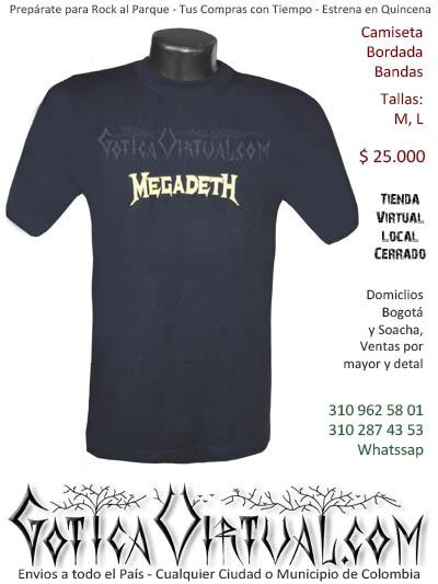 camiseta megadeth hombre negra  venta online domicilios bogota y soacha envios colombia