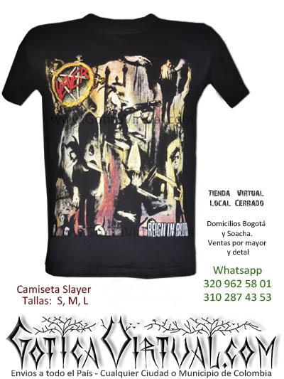 camiseta slayer reigin in bloos concierto bogota 2017 estampadas masculinas venta online rock metal medellin cali valle mosquera colombia