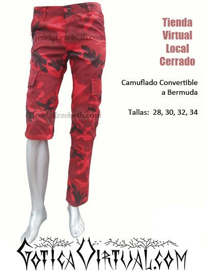 camuflado manchado trescuartos convertible bermudas pantalon urbano militar rojo metal brutal death grind core envios tunja pasto medellin barranquilla