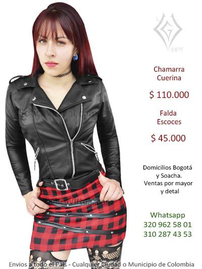 chamarra cuerina femenina negra hermosa economica rockera metalera ventas envios comercio cali medellin