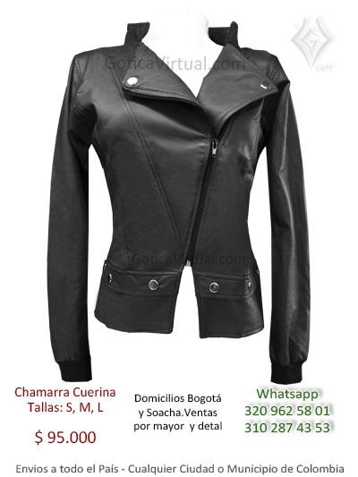 chamarra femenina cuerina negra cremallera sencilla tienda online boutique rock metal bogota colombia santander mosquera pereira yopal quindio