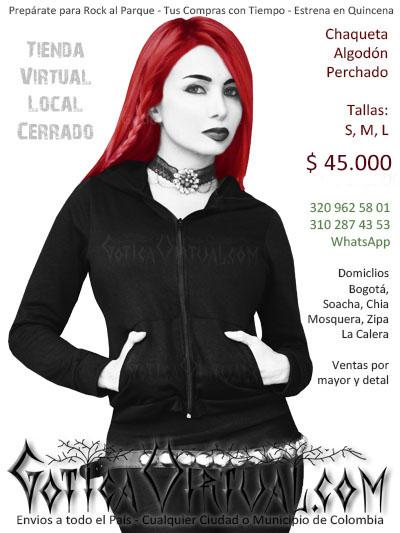 buso femenino algodon perchado tipo chaqueta negro capota economico tienda online rock metal bogota medellin armenia caldas colombia