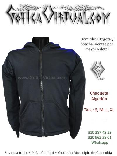 chaqueta algodon perchado negra masculina venta online domicilios con capota tienda online rock metal bogota colombia