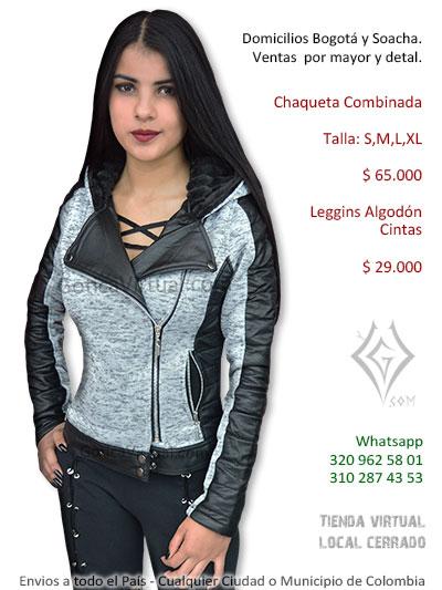 chamarra combinada negra gris cuerina algodon venta online domicilios femenina rock metal bogota sencilla colombia