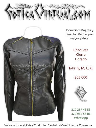 chaqueta cuerina femenina negra cremallera dorada venta online domicilios bogota armenia medellin risaraldas caldas villavicencio calledupar choco colombia
