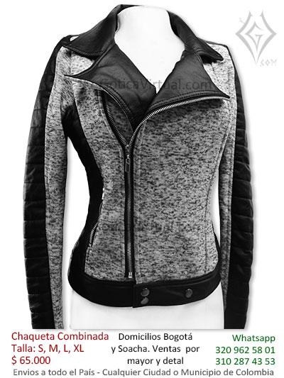 chaqueta combinada cuerina algodon negra bonita economica venta online domicilios pereira tunja yopal quindio villavicencio colombia