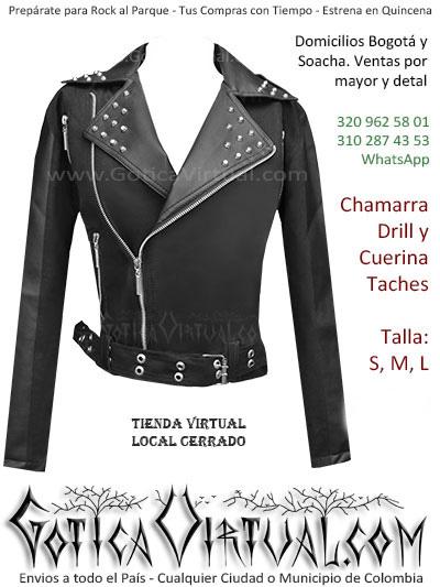 chaqueta drill y cuerina taches dama economica venta online envios colombia domicilios bogota y soacha