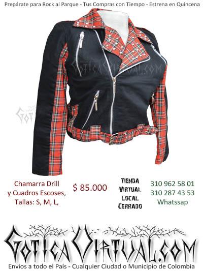 chaqueta escoses negra cuadros femenina hermosa prendas ropa boutique bodega rock prendas cali cucuta colombia