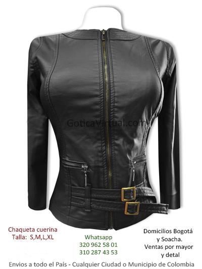 chaqueta femenina cuerina negra correas hebillas cintura bonita economica venta online domicilios bogota suba salitre usme bosa soacha chico colombia