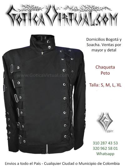 chaqueta drill peto negra masculina hombre rock metal tienda onine bgota caldas cesar tunja pereira yopal colombia