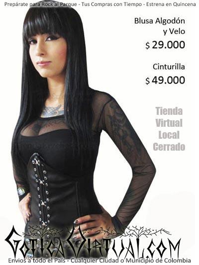 cinturilla cuerina blusa velo ropa sexy rock metal gotica envios cali medellin manizales cali pereira bucaramanga villavicencio