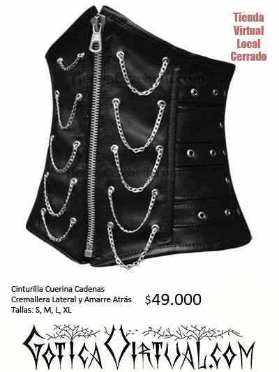 cinturilla cuerina cadenas bogota ropa metalera gotico envios tunja medellin cali yopal tunja pasto neiva