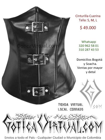 cinturilla cuerina negra hebillas sexy economica venta online chicas rokeras metaleras bogota cali sincelejo cucuta chia pasto colombia