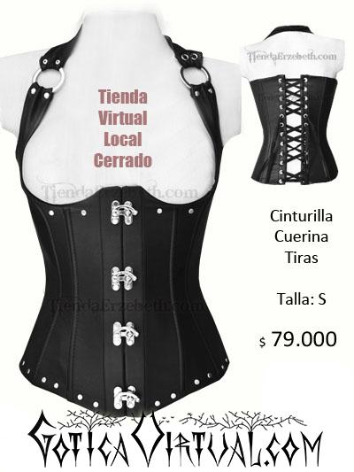 cinturilla cuerina tiras colgar amarre espalda broche cerrar bogota gotica boutique sex shop fetish medellin cali manizales yopal