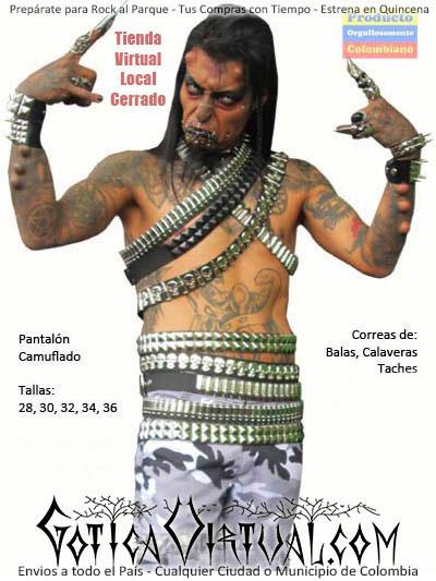correas balas bogota envios medellin cali tunja calaberas taches brillantes rockeras metaleras heavy cain tabu latinoamerica