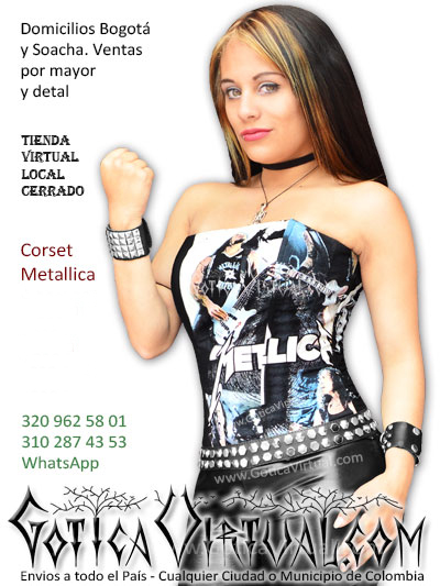 corset metallica bandas ropa gotica bogota tienda almacen outlet boutique  femenina envios medellin cali manizales f77ee5c2ced