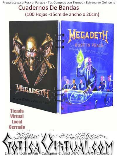 agendas cuadernos bandas rock metal argollados megadeth colombia envios antioquia boyaca cucuta medellin domicilios bogota