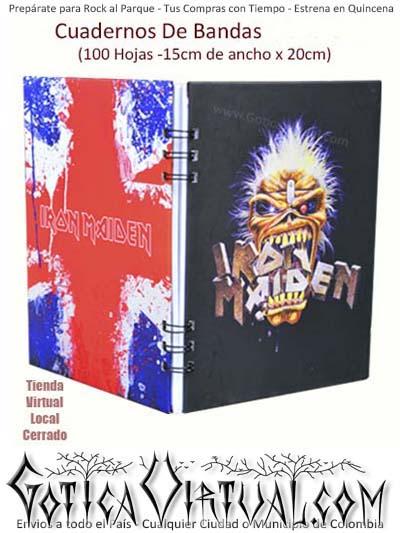 agendas cuadernos bandas iron maiden rock metal argollados ventas detal y por mayor colombia envios antioquia boyaca cucuta medellin domicilios bogota