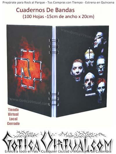 agendas cuadernos bandas rammstein rock metal argollados ventas detal y por mayor colombia envios barranquilla choco pasto medellin domicilios bogota