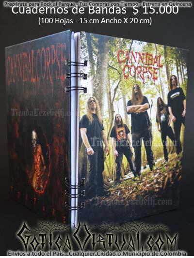 cuaderno libreta argollado cannibal corpse bandas rock metal envios a todo el pais domicilios tienda online colombia bogota medellin cali barranquilla cartagena pereira manizales cucuta boyaca